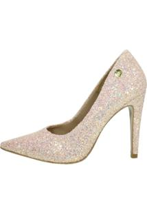 Scarpin Salto Alto Week Shoes Glitter Furtacor Rosê