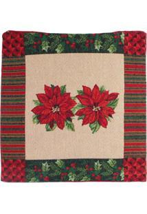Capa Almofada Flor/Listras Decoração Natal 45X45Cm Vermelha