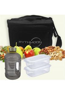 Kit Bolsa Térmica Tipo Keeppack Preta + Mini Galão Água Preta + 2 Refeições Rythmoon - Unissex