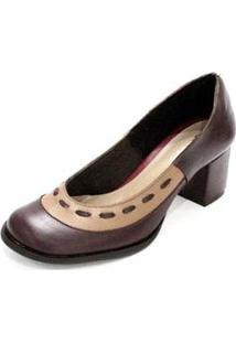 Sapato Boneca Couro Dali Shoes Salto Grosso E Recorte Feminino - Feminino-Vermelho
