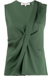 Dvf Diane Von Furstenberg Blusa Crepe Sem Mangas - Verde