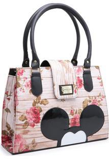 Bolsa Mickey Compacta Alça Dupla Mão Rosa