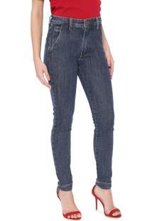 Calça Jeans Carmim Skinny Gerbera Azul-Marinho