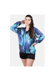 Jaqueta Corta Vento Chess Clothing Feminina Floral Blur Azul