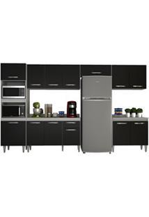 Cozinha Modulada 6 Módulos Composição 1 Branco/Preto - Lumil