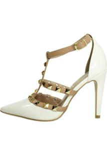 Scarpin Week Shoes Tachas Spike Off White E Nude