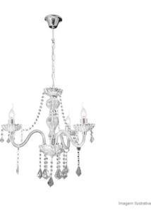 Lustre De Cristais Nice Para 3 Lâmpadas E27 60W Branco Transparente Startec