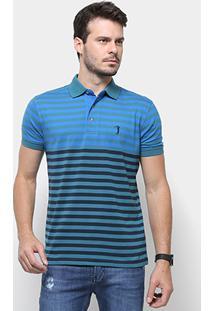 Camisa Polo Aleatory Listrada Fio Tinto Masculina - Masculino-Verde+Azul