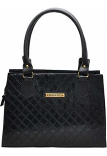 Bolsa Clássica D&R Shoes Feminina - Feminino-Preto+Dourado