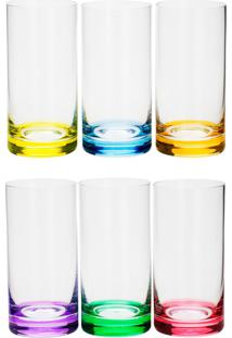Conjunto Rojemac 6 Copos Altos De Cristal Ecológico Long Drink Set-Bar Favorit Colorido - Kanui