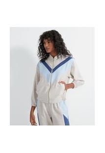 Jaqueta Em Algodão Texturizado Com Recortes Comfy | Marfinno | Bege | P