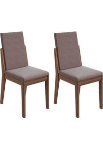 Conjunto Com 2 Cadeiras Lira Imbuia E Rose