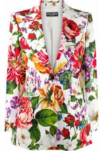 Dolce & Gabbana Blazer Com Estampa Floral - Branco