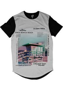 Camiseta Longline Long Beach Coleção Praias Santa Monica Ocean Park Sublimada - Masculino-Preto