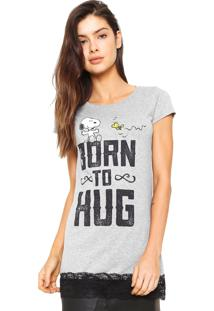 Camiseta Snoopy Renda Cinza