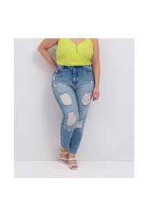 Calca Jeans Liso Mom Com Rasgos Curve E Plus Size Azul