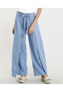 Calça Envelope Pantalona Jeans Feminina Com Amarração Azul Claro