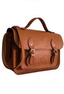 Bolsa Line Store Leather Satchel Pequena Couro Caramelo.