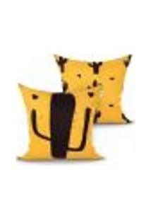 Jogo De Capa Almofada Decorativa Cacto Estampada Kit Com 2 Unidades 45Cm X 45Cm Com Zíper