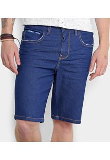 Bermuda Jeans Triton Bigodes Tridimensionais Puídos Masculina - Masculino-Azul
