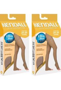Kit Com 2 Meia-Calça Kendall Alta Compressão Sem Ponteira - Feminino-Bege