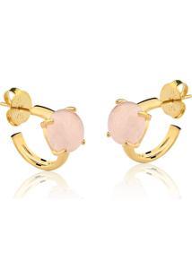 Brinco Toque De Joia Mini Argola Pedra Grande Quartzo Rosa Ouro Amarelo