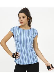 Camiseta Com Tiras Cruzadas & Microfuros- Azul & Azul Espatra