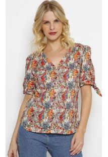 Blusa Floral Com Amarraã§Ã£O- Verde & Laranja- Vip Resvip Reserva