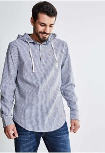 Camisa Em Linho Listrada Com Botões E Capuz
