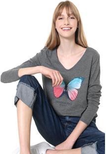 Blusa Malwee Butterfly Cinza