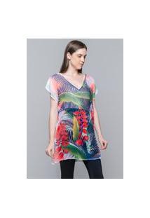 Blusa 101 Resort Wear Saida De Praia Estampada Crepe Decote V Folhas Coloridas