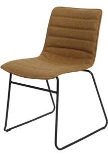 Cadeira Budd Assento Courino Caramelo Com Base Aco Preto - 47340 - Sun House
