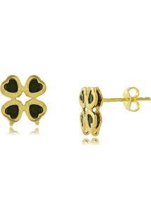 Brinco Trevo Em Formato De Coraã§Ã£O Com Pedra Preta 3Rs Semijoias Dourado - Dourado - Feminino - Dafiti