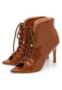 Sandália Bota Ankle Boot Salto Alto Feminina Confortável Em Croco Verniz Caramelo