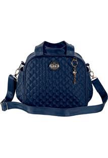 Bolsa Em Matelassãª- Azul Escuro- 28X33X7Cm- Batibatistela