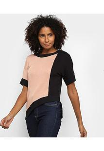 Blusa Acostamento Assimétrica Bicolor Feminina - Feminino-Rosa
