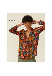 Amaro Feminino Blusa Manga Longa Estampada Decote V, Floral Artsy