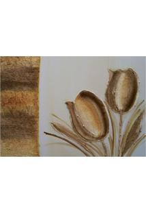 Quadro Artesanal Com Textura Tulipa Marrom 70X100 Uniart