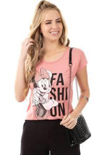 Blusa Estampada Com Pedaria Rosa Disney