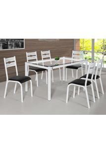 Conjunto De Mesa De Cozinha Com 6 Lugares Luna Corino Branco E Preto