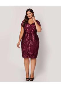 Vestido Almaria Plus Size Pianeta Curto Renda Roxo