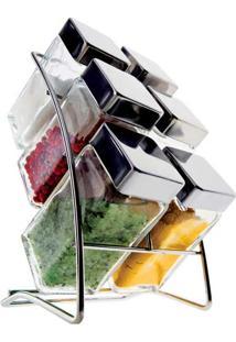 Porta Condimentos Square 6 Peças Com Suporte Em Aço Cromado - Euro
