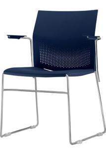 Cadeira Connect Com Braco Assento Azul Base Fixa Cromada - 53786 - Sun House