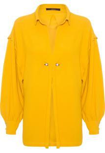Camisa Feminina Piercing Decote - Amarelo