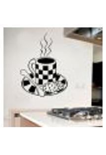 Adesivo De Parede Para Cozinha Modelo Café Com Biscoitos - Medio