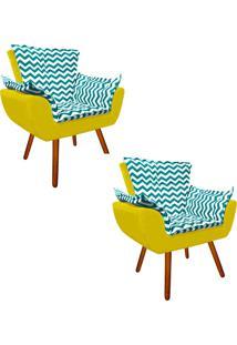 Kit 02 Poltrona Decorativa Opala Suede Composê Estampado Zig Zag Verde Tiffany D78 E Suede Amarelo - D'Rossi