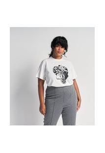 Blusa Manga Curta Em Algodão Com Estampa Cruella Curve & Plus Size | Ashua Curve E Plus Size | Branco | Eg