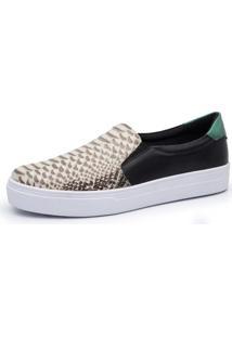 Sapatênis Iate Calçar Bem Cobra Preto/Branco/Verde