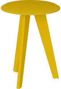 Mesa De Apoio Ellis Amarelo Com Tampo Redondo Artely 200070