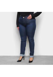 Calça Jeans Sawary Legging Plus Size Cintura Alta Feminina - Feminino-Azul